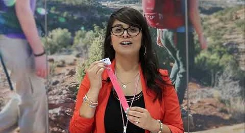 Stacy Larios introduces YKK's NATULON® product line at the Outdoor Retailer show