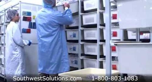 Medical Device Parts Storage Shelving Plastic Tub Supply Racks on Wheels
