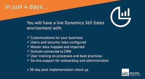 Dynamics 365 Sales 4-Day Start Up Implementation Offer | Western Computer
