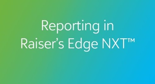 Raiser's Edge NXT - Reporting and Dashboards
