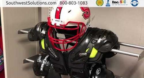 Football Shoulder Pad Helmet Gear Storage Rail Racks