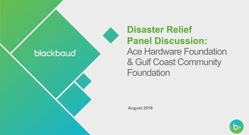 Disaster Relief: Panel Experts