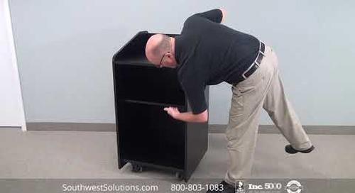 Open Mobile Lectern Speaker Podium with Adjustable Shelf on Wheels