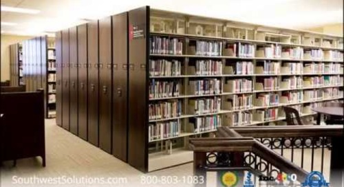 4-Post Shelving On Tracks Compact High Density Storage Installation