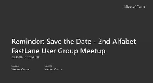 2nd Alfabet FastLane User Group Meetup