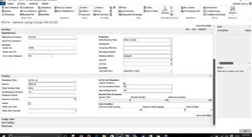 Dynamics NAV 2016 Item Card Setup - Planning & Replenishment Parameters