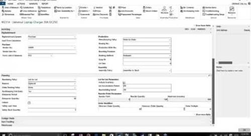 Dynamics NAV 2016 Item Card Setup - Planning & Replenishment Parameters