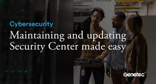 Cybersecurity - Security Center maintenance demo