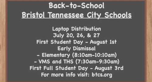 Bristol TN City Schools Back-to-School Schedule