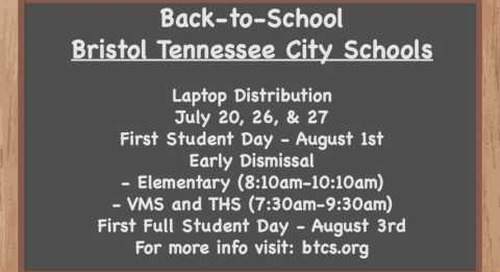 Bristol TN City Schools Back-to-School Schedule