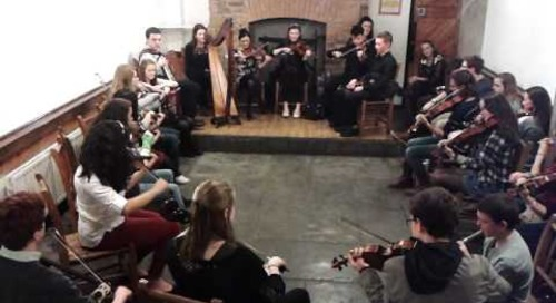 Saratoga Springs HS Fiddle Club Fiddle Jam Session in Dublin, Ireland
