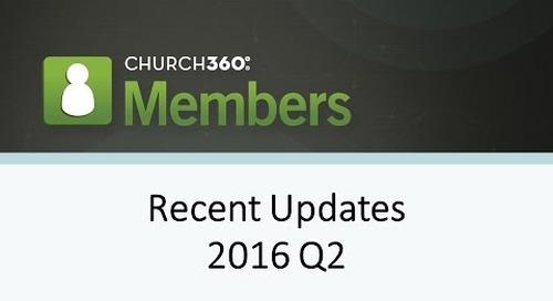 Church360° Members  - Recent Updates - Q2 2016
