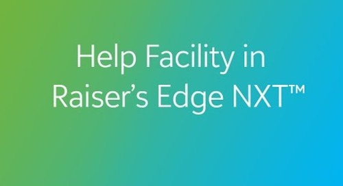 Raiser's Edge NXT - Help Facility