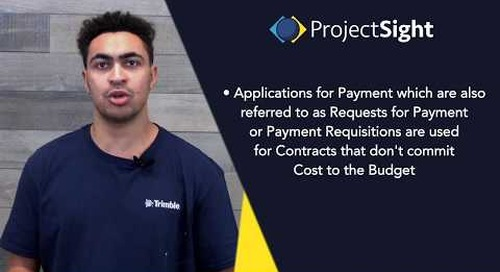 ProjectSight Training - Applications for Payment