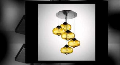 Niche Modern Chandeliers with Handmade Glass Pendants in Amber