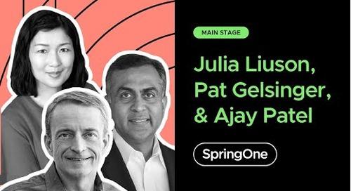 Ajay Patel with Pat Gelsinger and Julia Liuson at SpringOne 2020