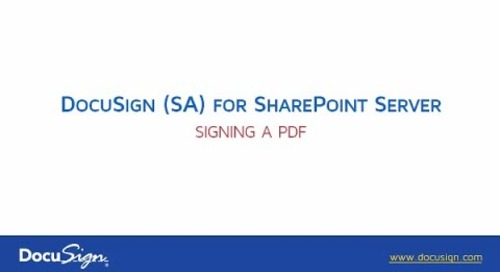 DocuSign for Sharepoint Server: Signing a PDF Document