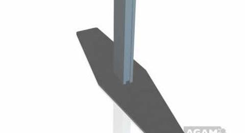 AGAM Extrusion PH1005 Floor Base Stem with Diamond Base Plate