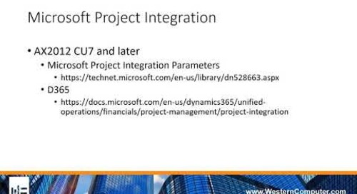 Microsoft Project Integration into the WBS in AX2012 and D365 for Finance and Operations