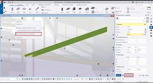 Tekla Structures 2019i - Set Default Values Automatically