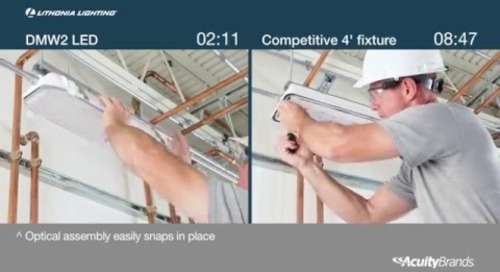 DMW2 LED Wet Location Light Vapor Tight Installation Comparison - Acuity Brands