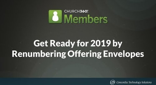 Get Ready for 2019 by Renumbering Offering Envelopes