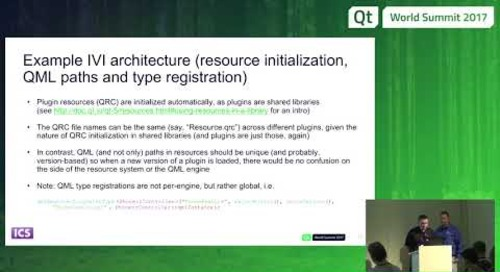 QtWS17 - Plugin-based IVI Architectures with Qt, Krzysztof  Krzewniak Vladimir Moolle, ICS