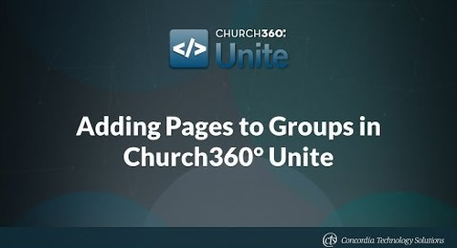 Adding Pages to Groups in Church360° Unite