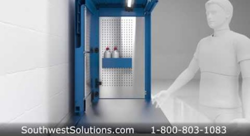 Custom Industrial Technical Workstations with Sliding Locking Doors