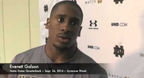 Notre Dame QB Everett Golson - 9/24/14 - Syracuse