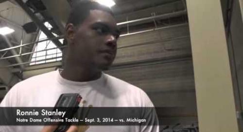 Notre Dame OT Ronnie Stanley - vs. Michigan - 9/3/14