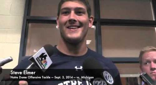 Notre Dame OT Steve Elmer - vs. Michigan - 9/3/14