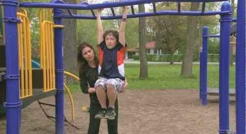Healthy Me Week Tip #6 - Knee lifts while hanging from the monkey bars