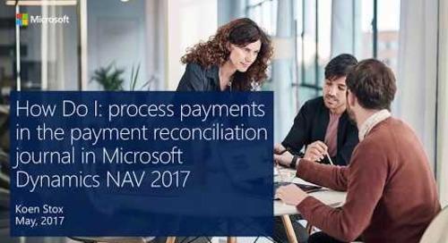 How Do I: process payments in the payment reconciliation journal in Microsoft Dynamics NAV 2017?
