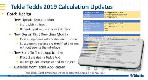 Batch design improvements in Tekla Tedds 2019
