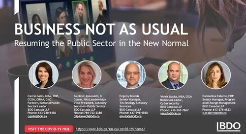 Business not as usual: Resuming the public sector in the new normal | BDO Canada