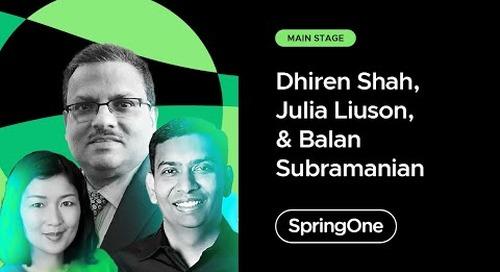 Dhiren Shah, Julia Liuson, and Balan Subramanian at SpringOne 2021