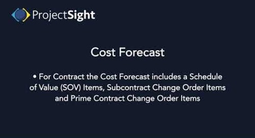 ProjectSight Training - Cost Forecast