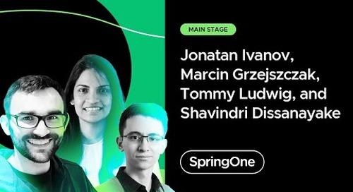 Jonatan Ivanov, Marcin Grzejszczak, Tommy Ludwig, and Shavindri Dissanayake at SpringOne 2021