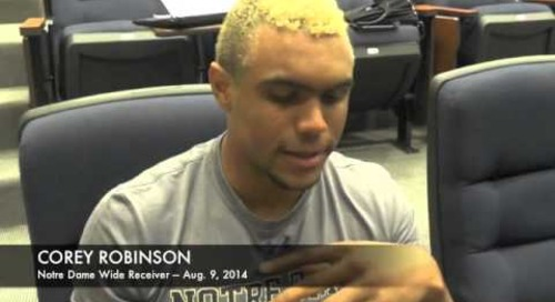 Notre Dame WR Corey Robinson - Aug. 9, 2014