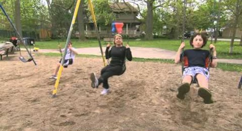 Healthy Me Week Tip #4 - Simple core workout at the playground swings