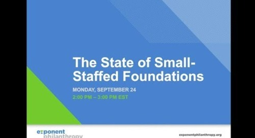 The State of Small Staffed Foundations