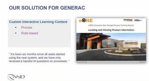 Customized PTC Windchill eLearning for Generac