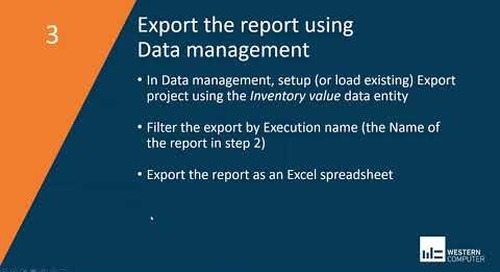 Inventory Value Report Storage | Dynamics 365 Finance & SCM | Western Computer