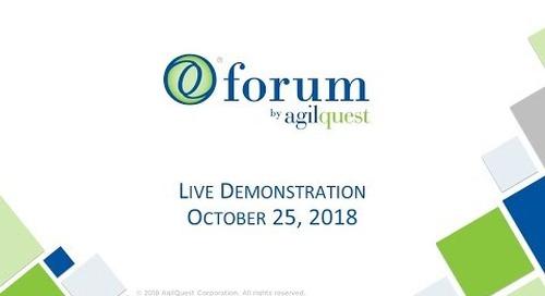 Forum by AgilQuest Live Demonstration Webinar
