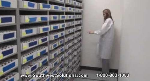 High Capacity Pathology Lab Paraffin Block Shelving | Glass Slide Storage Motorized Shelves
