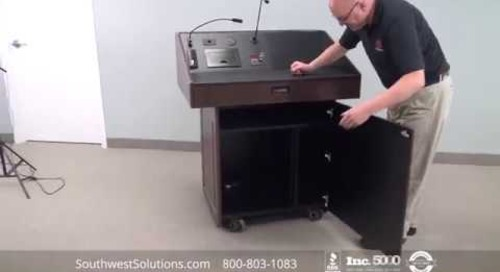 Roll-About Executive Multimedia Podiums | Modern Mobile Speaker Stands