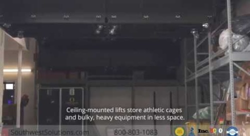 Ceiling-Mounted Lifts for Athletic Cages & Bulky Sports Equipment