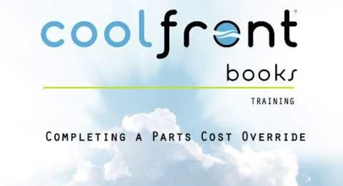 Coolfront Books - Completing a Parts Cost Override