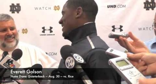 Notre Dame QB Everett Golson - Aug. 30 - vs. Rice